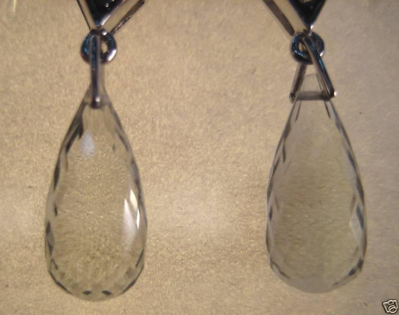 10KW 7.9 Carat Green Amethyst Briolette Drop Earrings