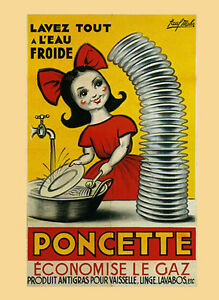 Washing Dishes Kitchen Poncette Save On Gas French Vintage Poster