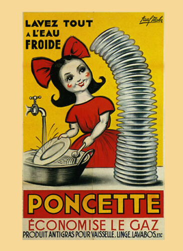 Washing Dishes Kitchen Poncette Save on Gas French Vintage Poster Repro FREE S//H