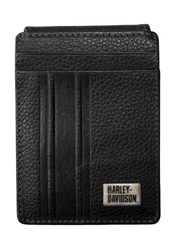 Harley-Davidson Men's Racer Stripe ID Card Front Pocket Wallet RS6687L-BLACK