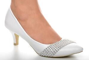 dacbb31ae43cf8 New Ivory Lace Diamante Trim Mid Heel Wedding Pumps Bridal Shoes