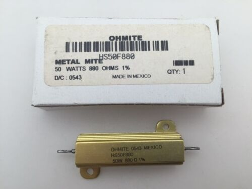 Wirewound Resistor HS50F880 Ohmite 50 Watt 880 Ohm 1/% Chassis Mount