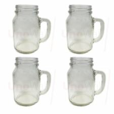 Set of 4 Mason Glass Drinking Jars with Handles without Lids 20oz 1 pint 568ml