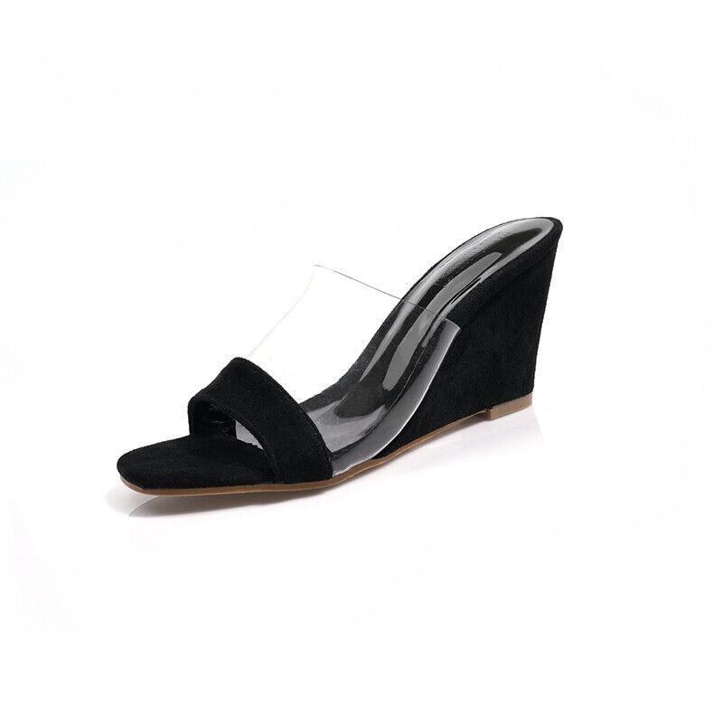 Slippers Sabot Elegant Platform Sandals 9 cm Comfortable Black like Leather 1221