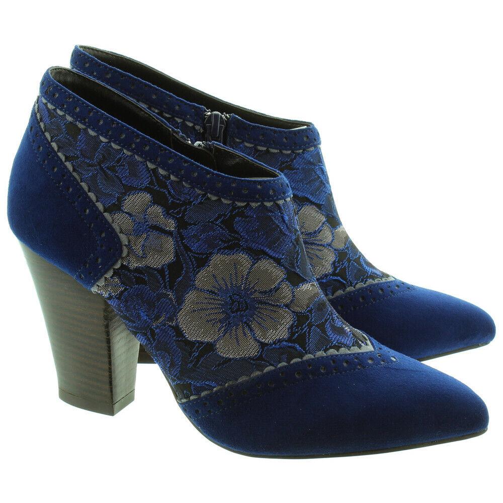 RUBY SHOO LADIES NICOLA HEELED ANKLE Stiefel IN Blau UK 5 EU 38 NH095 HH 02