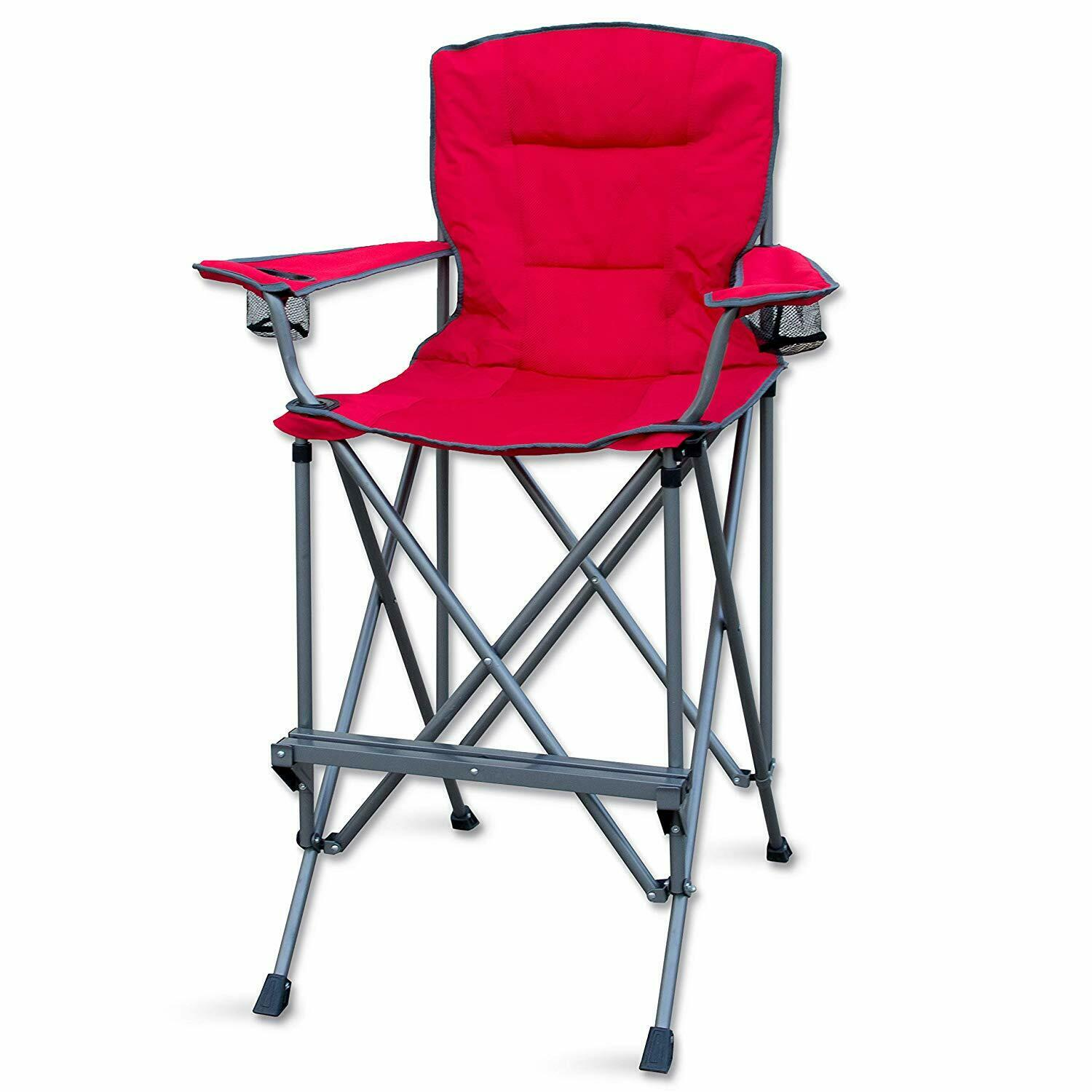 Camping Chair Folding Extra Tall Bar Height Director Seat With Footrest Red