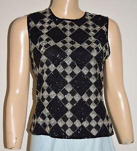 b6f16d5cc802e Vintage Black Silk Bead Sequin Top Blouse by Papell Boutique Evening ...