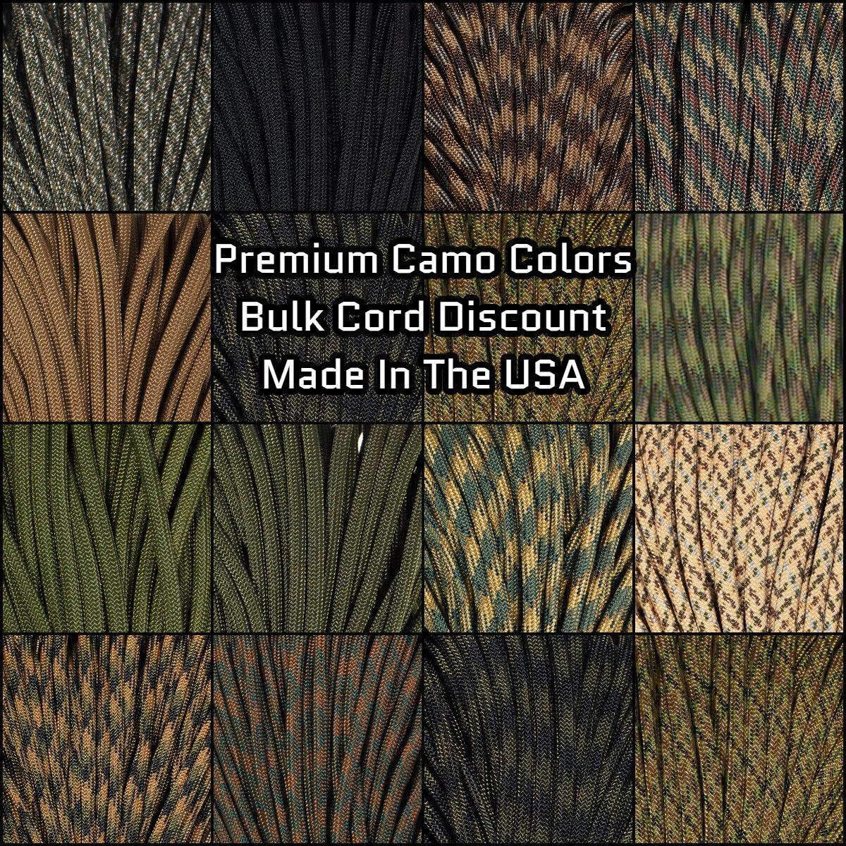 Made in the United States 550 Paracord for Paracord Crafts Tactical Camo 100 Feet