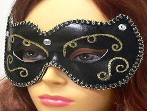 Ladies Fancy Blk Glittery Masquerade eye Mask w//fabric trim stones.