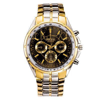 Luxury Mens Dial Gold Stainless Steel Date Quartz Analog Sport Wrist Watch