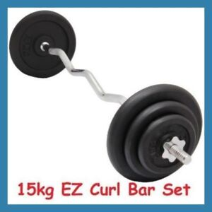 15kg-EZ-Curl-Bar-Cast-Iron-Weight-Set-120cm-Barbell-Bicep-Curl