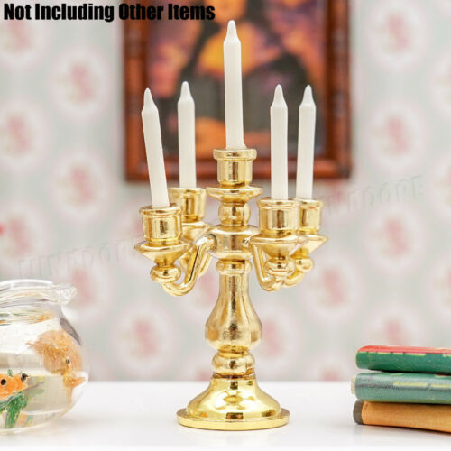 1:12 Miniature Metal Golden Candlestick 5 Arms Candles Furniture Dollhouse Decor