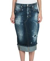 Dsquared Long Fitted Denim Pencil Skirt.uk 8/40. £335.indigo Blue