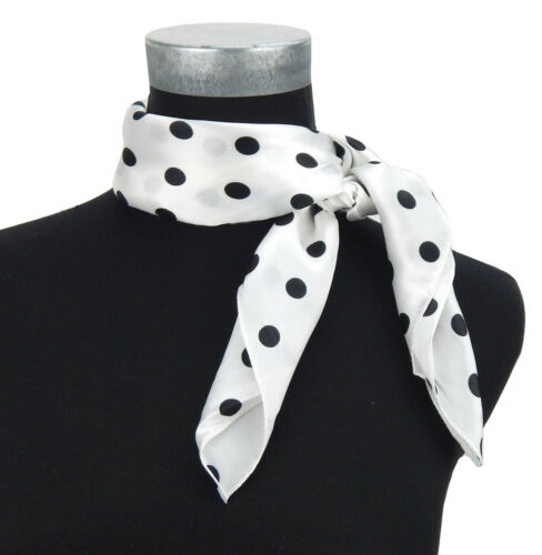 Ella Jonte kleines Tuch weiß schwarz Punkte Retro Rockabilly Halstuch 40/% Seide