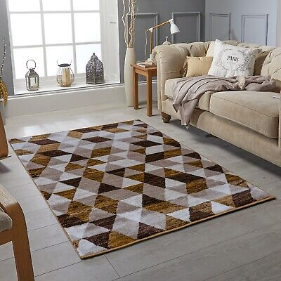 Modern Contemporary Gold Brown Rug Stain Resistant Cheap Living Room Area Rug Ebay