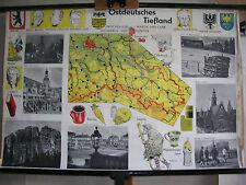Schulwandkarte Ostdeutsches Tiefland Sachsen Schlesien Brandenburg 99x66 Karte
