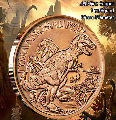 Copper Round Coin Tyrannosaurus  T-Rex   #3  DINOSAUR  Series 1 oz
