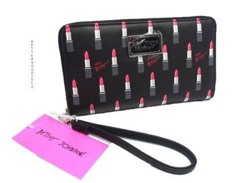 BETSY JOHNSON women/'s Lipstick Print WRISTLET WALLET Zip Around BLACK