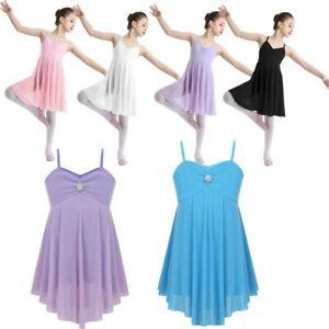 Kids Girls Ballet Latin Lyrical Dance Dress Gymnastics Leotard Dancewear Costume