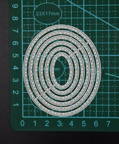 Oval Set of 6 Thin Metal Dies Card Making C9 Stitch Patterned Scrap booking