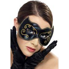 Womens Persian Eye Mask Black & Gold Fancy Dress Costume Masquerade Venetian