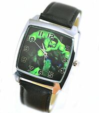 DC SUPERHERO INCREDIBLE HULK BLACK LEATHER FILM MOVIE STEEL COMICS SQUARE WATCH