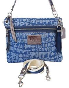 eebce21d Details about Coach New York Poppy Signature Wordblock Denim Blue Crossbody  Hippie Purse 16989