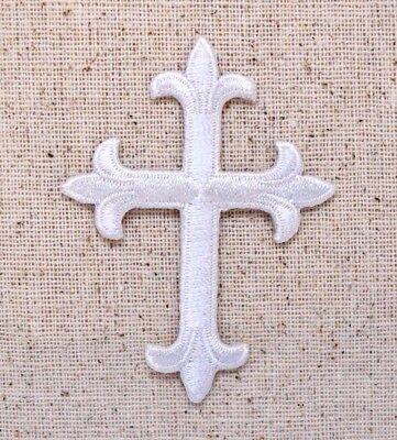 "(Lot of 25) Cross 4"" Fleur de lis White - Iron on Applique/Embroidered Patch"