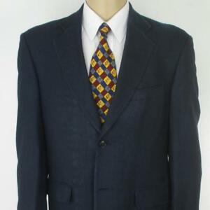 40-R-Haggar-Blue-Pure-Silk-Herringbone-Tweed-2-Btn-Mens-Jacket-Sport-Coat-Blazer