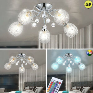 LED-DESIGN-Luminaire-de-plafond-cristaux-CHROME-RGB-telecommande
