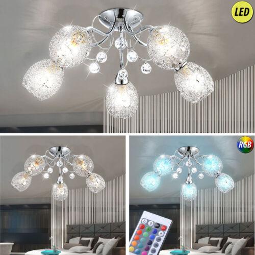 Luxus LED RGB Decken Lampe Kugel Chrom Kristalle Fernbedienung Schlaf Ess Zimmer