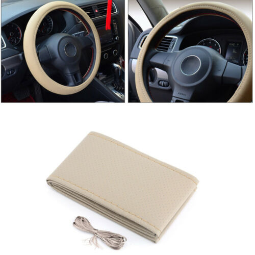 DIY Car Truck Leather Steering Wheel Cover With Needles and Thread Beige