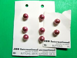 """H521 5 VINTAGE JHB 3//16/"""" RED PLASTIC 2-HOLE BABY DOLL BUTTONS NOS CARD"""