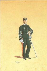 CARTOLINA-D-039-EPOCA-CARABINIERI-UFFICIALE-CON-GIUBBA-A-DUE-PETTI-1898-DEGAI