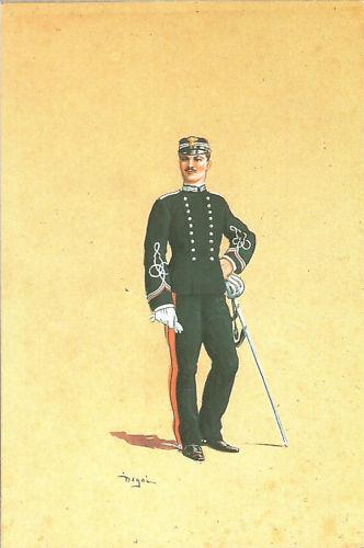 CARTOLINA D'EPOCA CARABINIERI - UFFICIALE CON GIUBBA A DUE PETTI 1898 - DEGAI