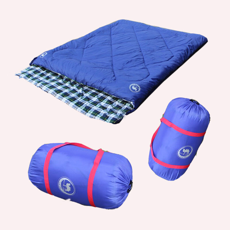Couple Double Sleeping Bag Outdoor Sport Cotton Hiking Summer Carrying Case