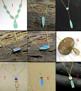 925-Sterling-Silver-Chalcedony-Gemstone-Jewelry-Gold-Plated-Necklace-MN3580