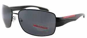 1fb836cfc239 New Prada Linea Rossa PS 53NS 1BO5Z1 Shiny Black Sunglasses Gray ...