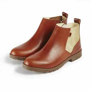 Kickers-LACHLY-CHEL-Womens-Ladies-Leather-Pull-On-Zip-Up-Chelsea-Boots-Tan