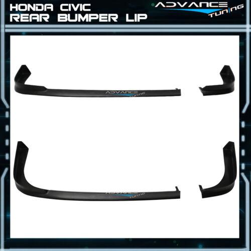 For 01-03 Honda Civic 2Dr Coupe TR Style Rear Bumper Lip PU Unpainted Black
