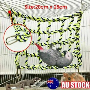 Pet-Bird-Parrot-Hamster-Cage-Rope-Ladder-Net-Hammock-Swing-Hanging-Perch-Toys-AU