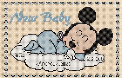 Cross Stitch Chart-nouveau bébé Naissance Échantillonneur Mickey Mouse Flowerpower 37-uk