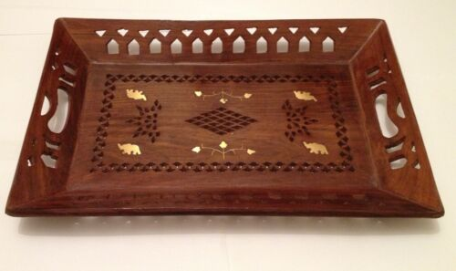 Handmade wooden Carved Brass Elephant Inlaid Tray Rosewood