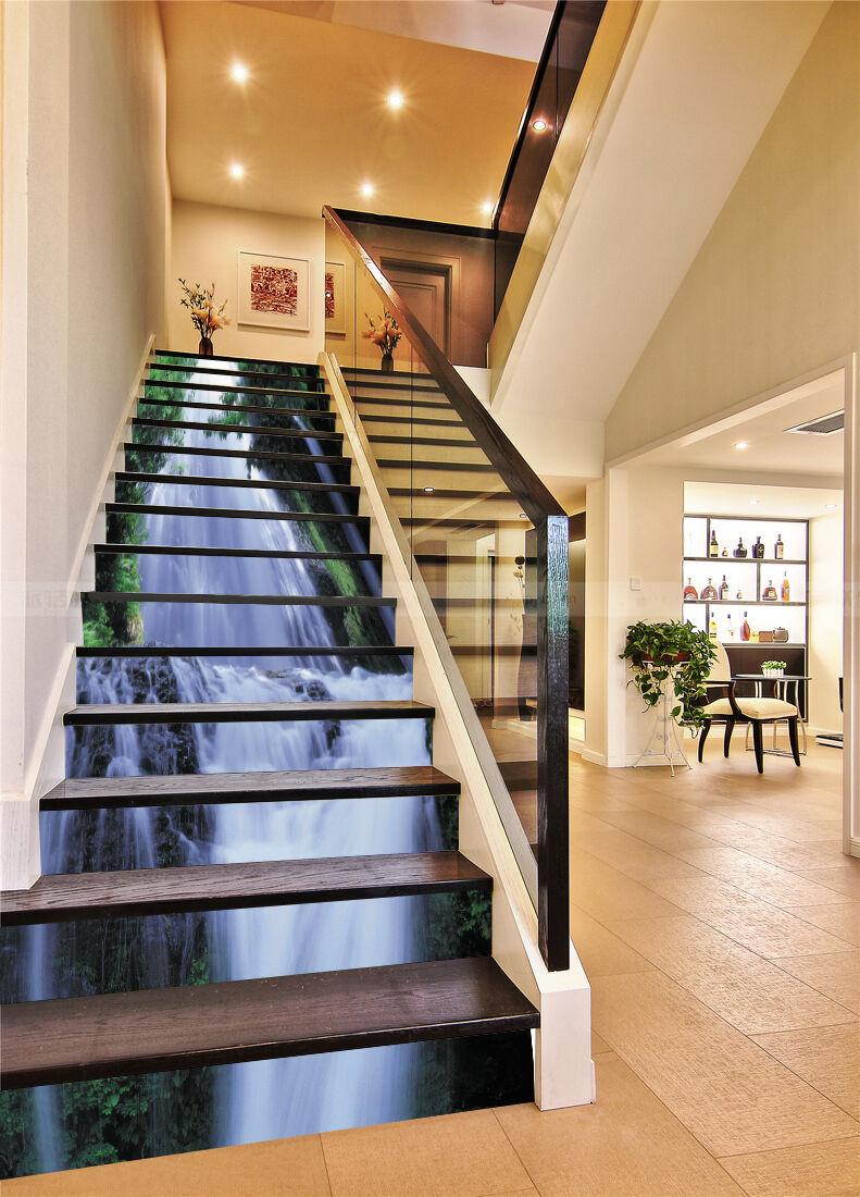 3D Wasserfall 6107 Stair Risers Dekoration Fototapete Vinyl Aufkleber Tapete DE