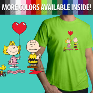 Peanuts-Charlie-Brown-Valentine-039-s-Day-Sally-Cartoon-Unisex-Mens-Tee-Crew-T-Shirt