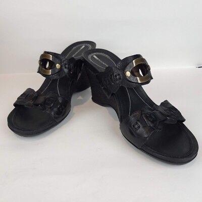 Rockport Womens Zietta Black Leather Wedge Heel Sandals Size 8.5 Slip On Summer | eBay