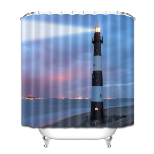 Lighthouse in the Dusk Shower Curtain Liner Bathroom Polyester Fabric /& Hooks