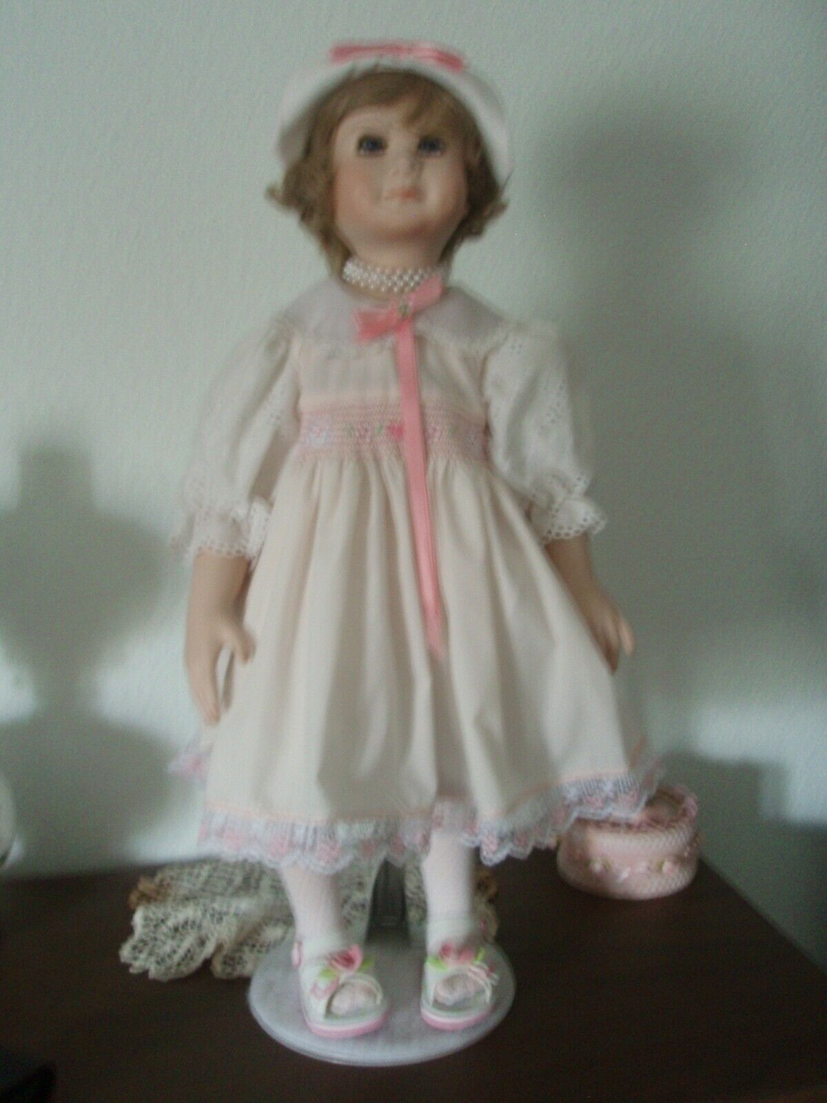 Girl Toddler 27  Doll Porcelain Bisque Head Arms Legs Cloth Body Handmade - NEW