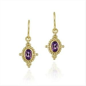 18K-Gold-Over-925-Silver-Amethyst-amp-Bali-Rope-Design-Dangle-Earrings