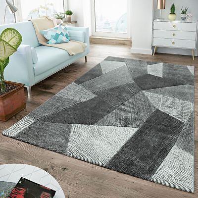 Tappeto moderno a pelo corto per soggiorno con taglio struttura altobasso  grigio | eBay